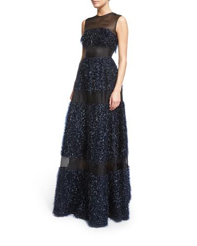 Sleeveless Metallic Chevron-Fringe Gown, Navy