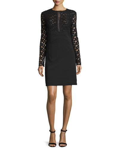 Long-Sleeve Lace-Inset Tunic Dress, Black