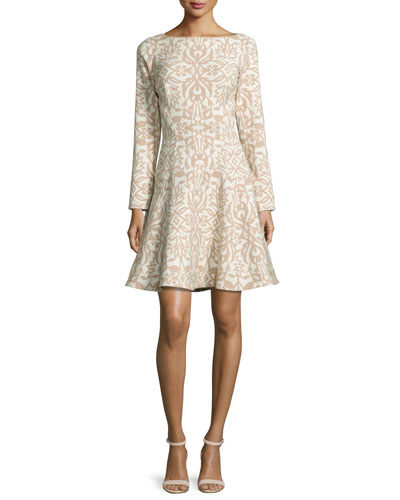 Long-Sleeve Ornamental Fit-&-Flare Dress, Tan/Ivory