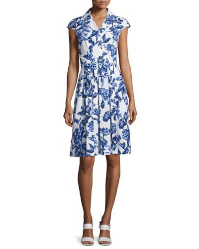 Jane Floral-Print Cotton Shirtdress, Blue/Ivory