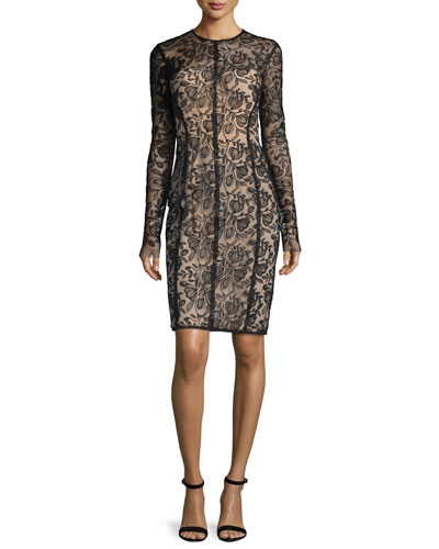 Long-Sleeve Lace Sheath Dress, Black