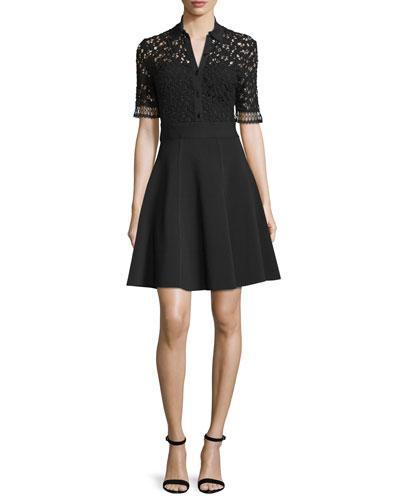 Half-Sleeve Lace-Bodice Shirtdress, Black