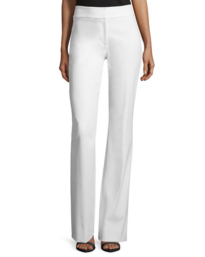 Sam Flare-Leg Twill Pants, White