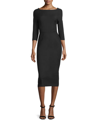 Audrey Elbow-Sleeve Dress, Black