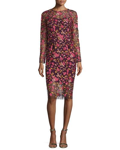 Long-Sleeve Embroidered Sheath Dress, Pink/Multi