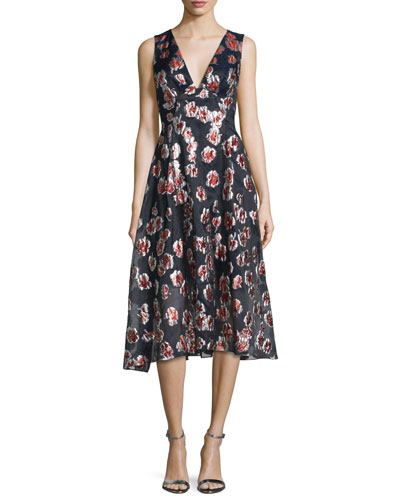 Sleeveless Floral-Print Midi Dress, Cranberry