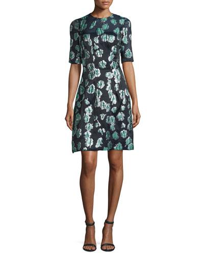 Holly Elbow-Sleeve Dress, Green