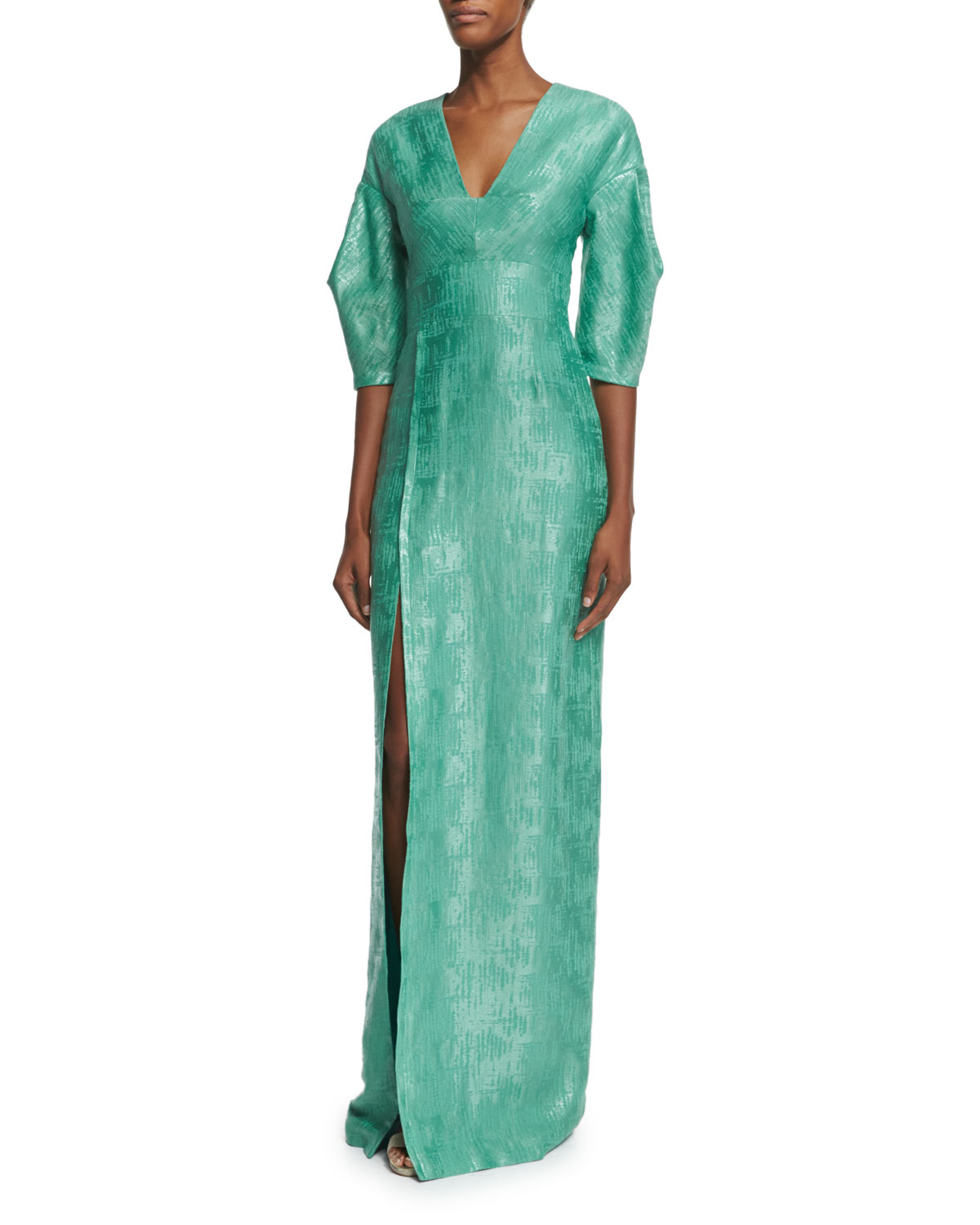 3/4-Sleeve Shimmery Column Gown, Green