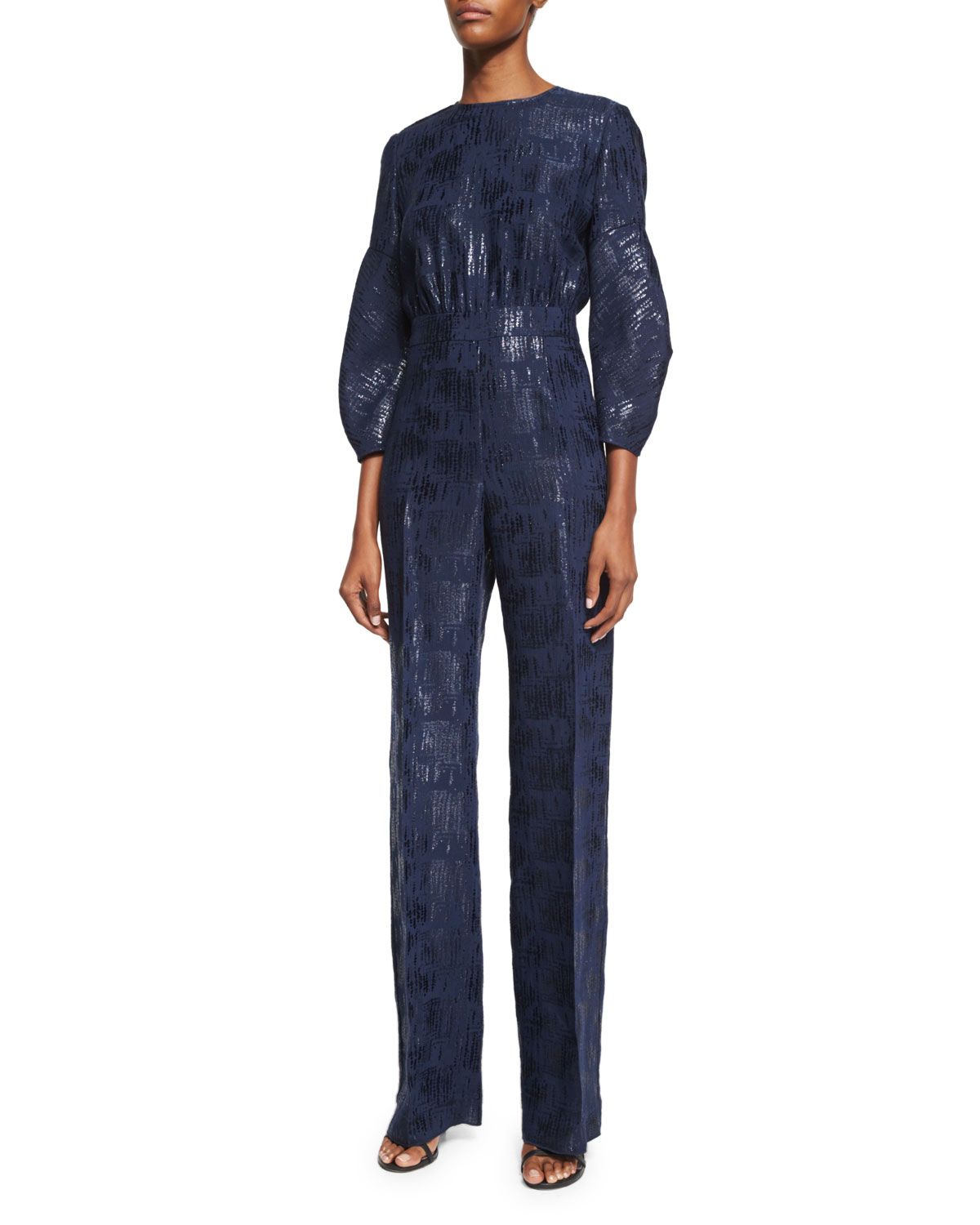 Straight-Leg Shimmery Jumpsuit, Navy