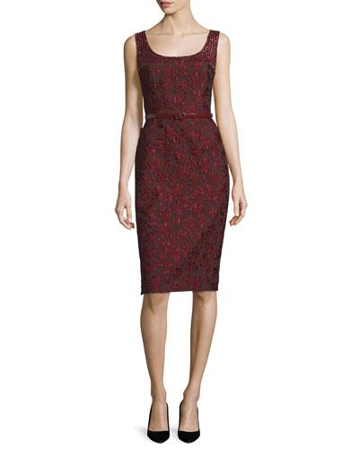 Sleeveless Embellished Sheath Dress W/Belt, Marsala