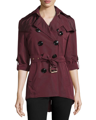 Knightsdale Hooded Relaxed Trenchcoat, Deep Claret