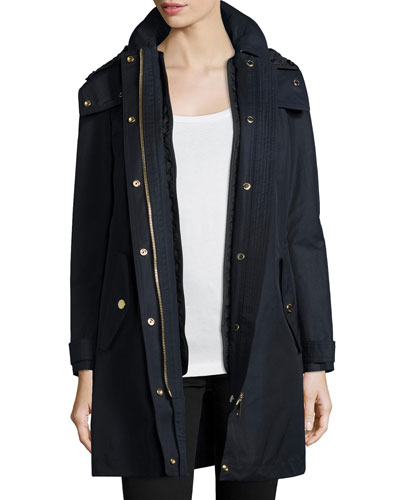 Harlington Zip-Front Hooded Parka Coat, Navy