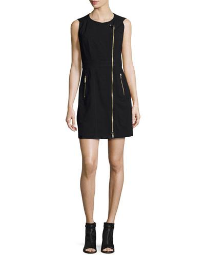 Annelisa Sleeveless Asymmetric Two-Zip Dress