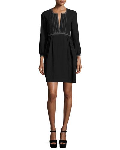 Rachel Long-Sleeve Topstitched Wool Dress