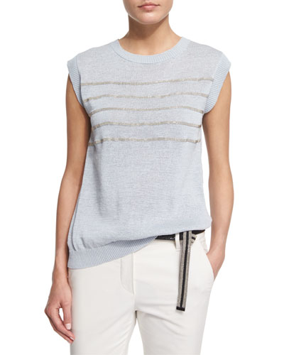 Sleeveless Monili-Striped Top, Light Blue