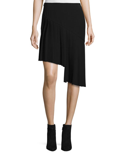 Asymmetric Pleated Skirt, Black