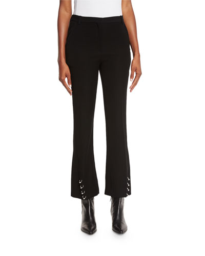 Pierced Flared Cropped Pants, Black