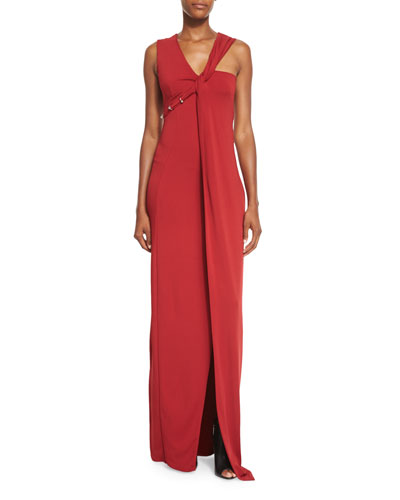 Pierced Asymmetric Twist-Front Gown, Carmin