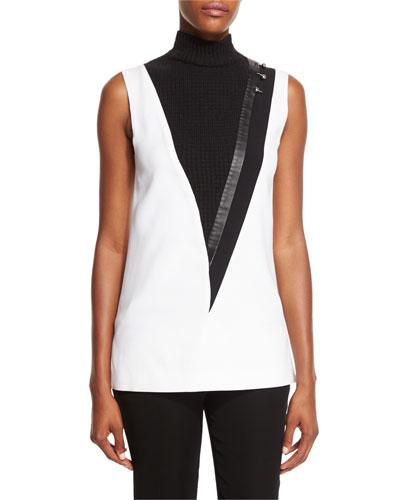 Pierced Leather-Stripe Sleeveless Tunic, White/Black