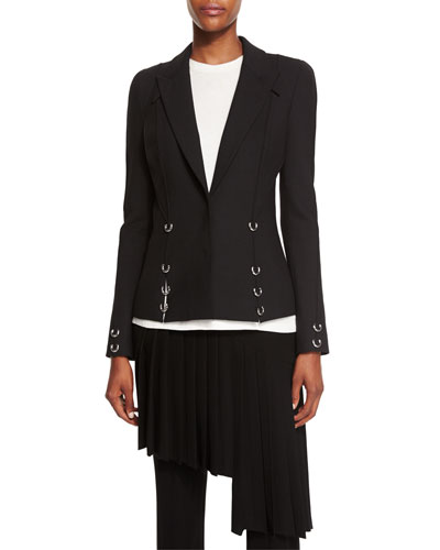 Pierced Notched-Collar Jacket, Black