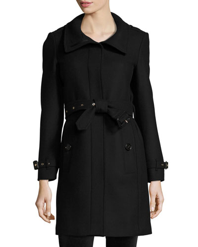 Gibbsmore Wool-Blend Single-Breasted Coat, Black