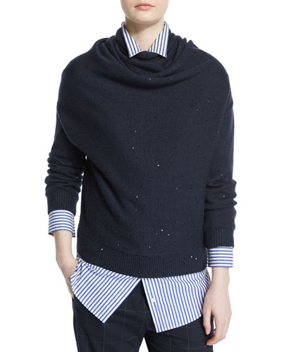 Long-Sleeve Paillette Cowl-Neck Sweater, Navy