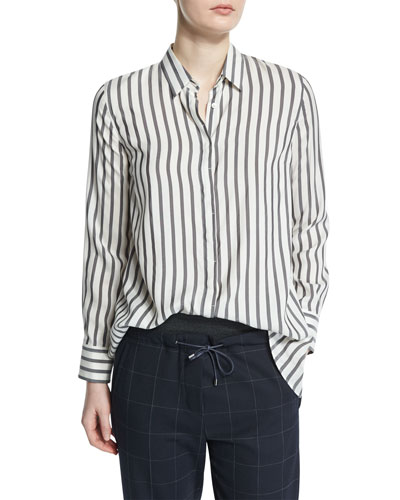 Button-Front Striped Shirt, Onyx