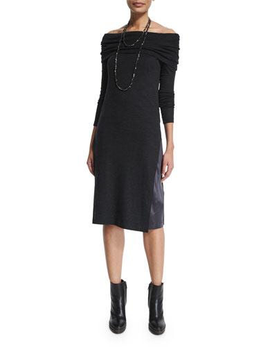 Off-The-Shoulder Monili-Strap Dress, Volcano
