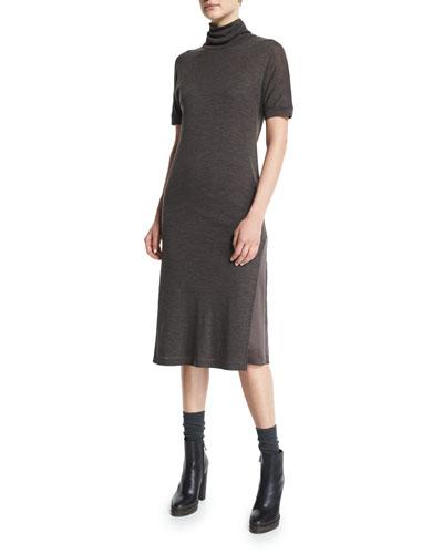 Short-Sleeve Turtleneck Dress, Bark