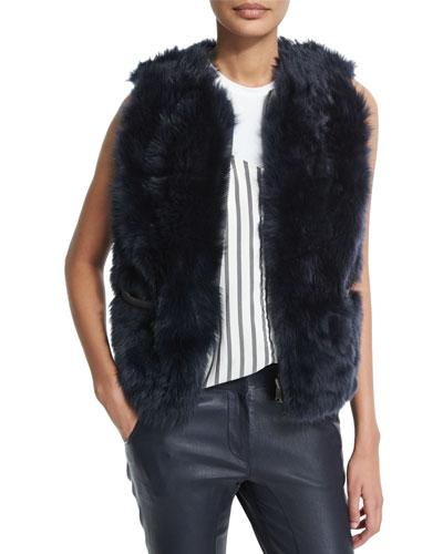 Reversible Zip-Front Fur Vest, Navy