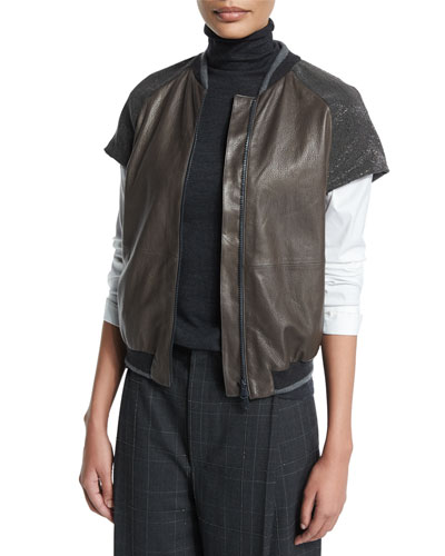 Monili-Embellished Cap-Sleeve Jacket, Graphite