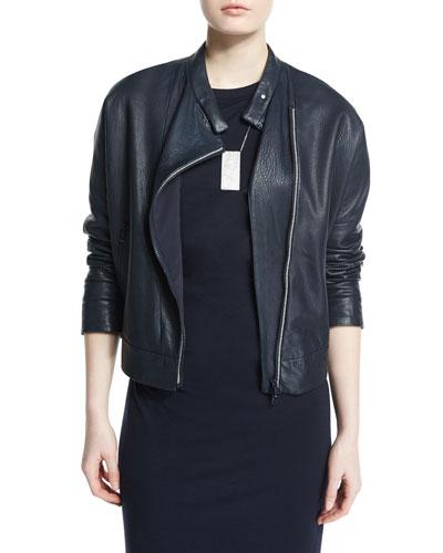 Asymmetric Leather Moto Jacket w/Monili Trim