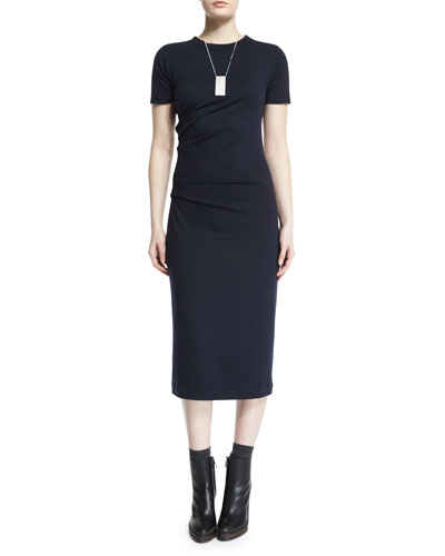 Short-Sleeve Wool Jersey Dress, Navy