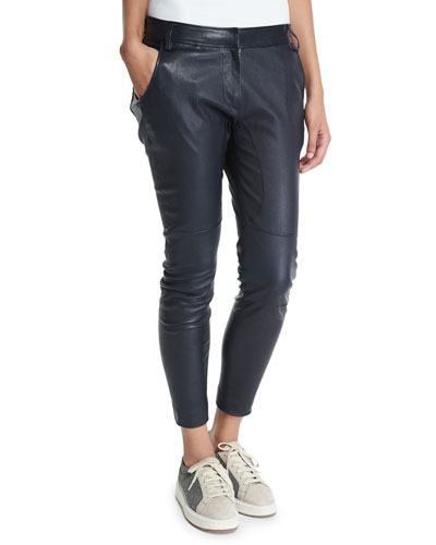 Skinny Leather Cropped Pants, Navy