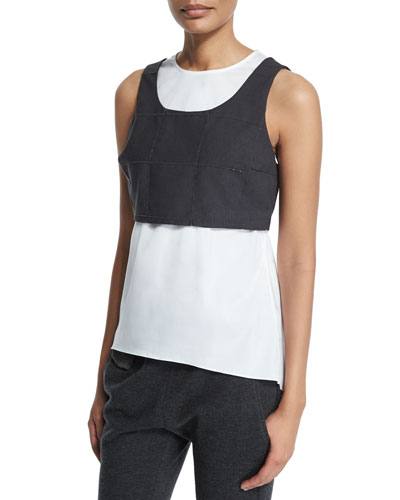 Jewel-Neck Monili-Trim Windowpane Vest Tank, Charcoal