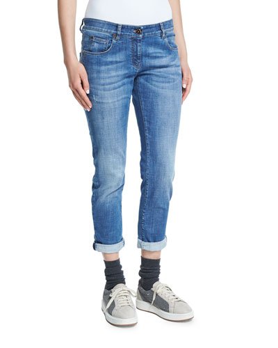 Distressed Rolled-Cuff Boyfriend Jeans, Denim
