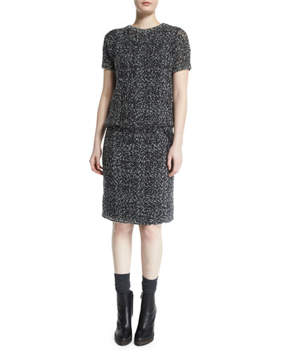 Short-Sleeve Embroidered Knit Dress, Onyx