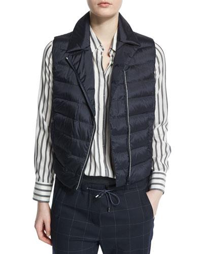 Notch-Collar Zip-Front Monili Puffer Vest, Navy