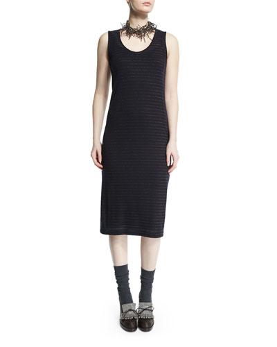 Scoop-Neck Metallic-Striped Dress, Navy