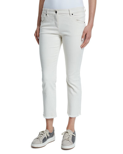 Cropped Flare Jeans W/Frayed Hem, Natural