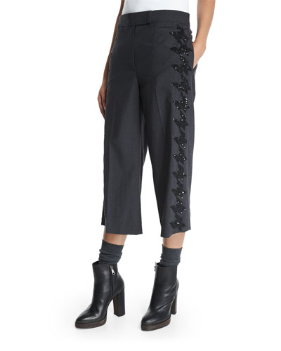 Embellished-Houndstooth Cropped Pants, Anthracite