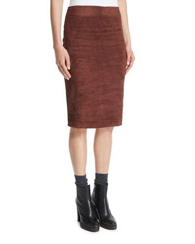Suede Pencil Skirt, Henna