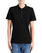 Slim-Fit Polo Shirt with Check Trim, Black