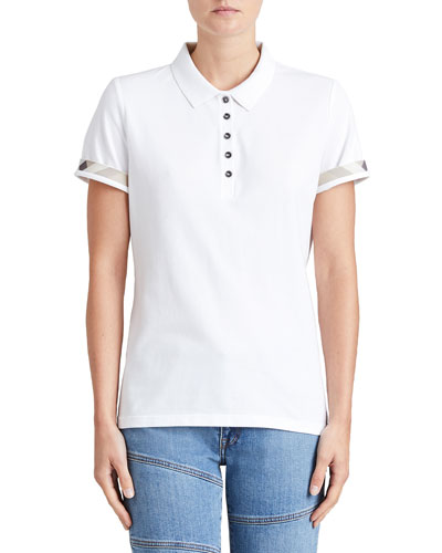 Slim-Fit Polo Shirt with Check Trim, White