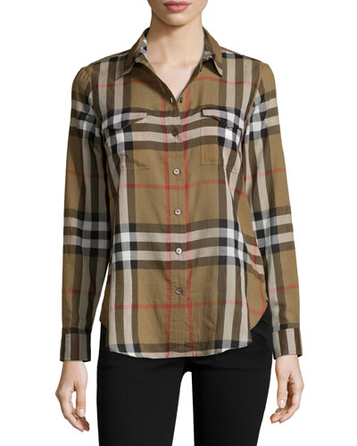 Long-Sleeve Cotton Check Shirt, Taupe Brown