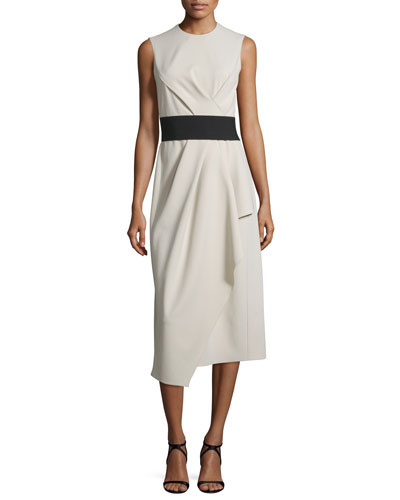 Sleeveless Round-Neck Draped Wool Dress