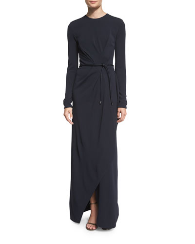 Long-Sleeve Belted Faux-Wrap Gown, Navy