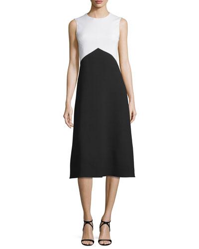 Sleeveless Jewel-Neck Colorblock Dress, White/Black