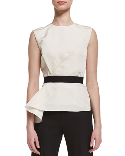 Draped Belted Sleeveless Blouse, Ecru