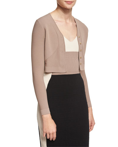 Button-Front Cropped Cardigan, Putty